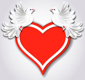 Red heart and two pigeons Stock Photography
