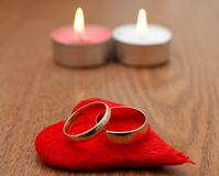 Red heart and two ring Stock Photos