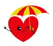 Red heart with umbrella. Red heart with umbrella in hand on a white background royalty free illustration