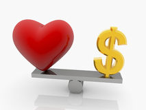 Red Heart and USA dollar sign on seesaw Royalty Free Stock Photography