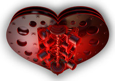 Red heart V8 isolated on withe. 3d render Royalty Free Stock Image