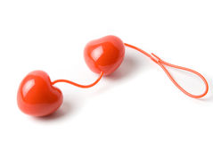 Red heart vaginal balls. Red vaginal balls as heart isolated on a white Royalty Free Stock Photo