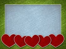 Red heart on valentine card background Stock Image
