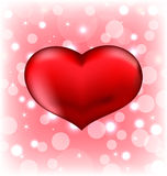 Red heart, Valentine glowing background Royalty Free Stock Image
