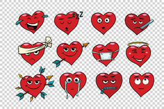 Red heart Valentine set of characters Royalty Free Stock Photos