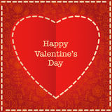 Red heart Valentines day card with floral background Royalty Free Stock Photos