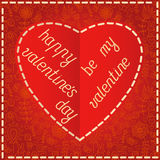 Red heart Valentines day card with floral background Stock Images