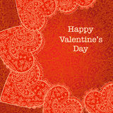 Red heart Valentines day card with floral background Stock Photo