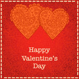 Red heart Valentines day card with floral background Stock Photography