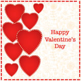 Red heart Valentines day card with floral background Royalty Free Stock Image