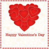 Red heart Valentines day card with floral background Royalty Free Stock Photography