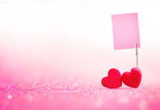 Red Heart valentines day and card holder the memo paper with swe Stock Images