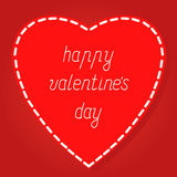 Red heart Valentines day card with red background, vector illust Stock Photos