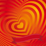 Red heart Valentines day card. Three-dimensional volumetric image Stock Photo