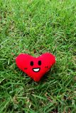 Red heart for Valentines Day concept. Smile face red heart on fresh green grass garden background Royalty Free Stock Image