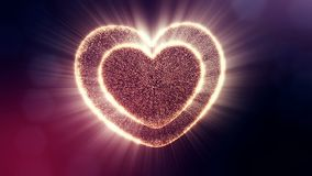 Red heart for valentines day or wedding background as seamless footage with depth of field and bokeh on dark background. Loop 3d animation of glow particles form stock video