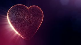 Red heart for valentines day or wedding background as seamless footage with depth of field and bokeh on dark background. Loop 3d animation of glow particles form stock video footage