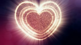 Red heart for valentines day or wedding background as seamless footage with depth of field and bokeh on dark background. Loop 3d animation of glow particles form stock footage