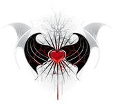 Red heart of a vampire. Artistically painted, red heart of a vampire with black wings, decorated with a pattern of spikes Royalty Free Stock Photos