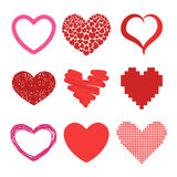 Red heart vector icons Royalty Free Stock Images