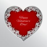 Red heart vector illustration laced with hearts, lips and cupid`s arrow frame on white background for valentines day greeting card royalty free illustration