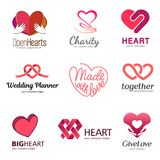 Red heart - vector set logo design set. Medicine and health care concept. Love, charity and philanthropy. Stock Images
