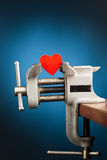 Red heart in the vice tool Stock Image