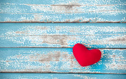 Red heart on vintage blue wood background. Pattern can used for posters, cards, invitations and can add text message or other projects royalty free stock photos