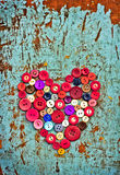 Red heart from Vintage buttons Stock Photos