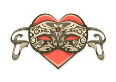Red heart in vintage decorative mask Stock Photo