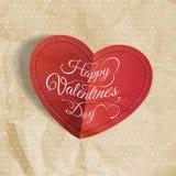 Red heart on vintage paper. EPS 10 royalty free illustration