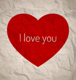 Red heart on vintage paper Royalty Free Stock Image