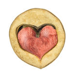 Red heart in walnut Stock Photography