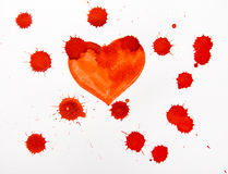 Red heart water color Royalty Free Stock Photos