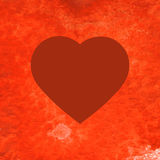 Red heart on watercolor painted background Stock Photography