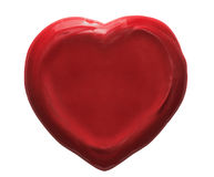 Red heart wax seal isolated Stock Photography