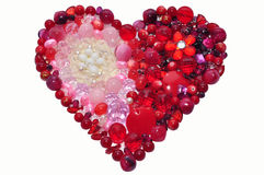 Colorful crystal beads heart shape isolated. Handmade red heart isolated on white Stock Photos