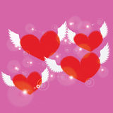 Red heart with white angel wing on pink background Royalty Free Stock Photos