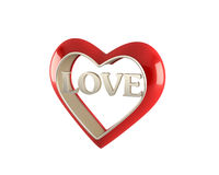 Red heart on white background Royalty Free Stock Photo