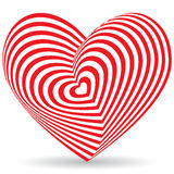 Red heart on a white background. Optical illusion of 3D three-dimensional. Volume Stock Images