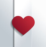 Red Heart on White Banner for Valentines Concept Stock Photos