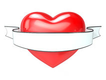 Red heart and white, blank ribbon. 3D tattoo Stock Image