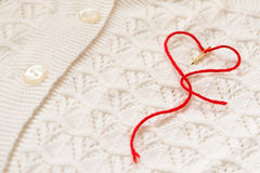 Red  heart on a white blouse Royalty Free Stock Photography