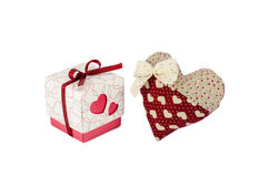 Red heart with white bow near box with gift, Valentine's day concept Stock Image