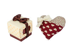 Red heart with white bow near box with gift, Valentine's day concept Stock Photos