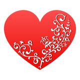 Red heart with white floral ornament. Valentine symbol stock photo