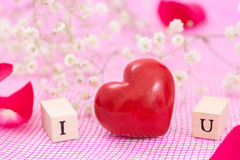 Red heart and white flowers, and wooden cubes with letters I and U. Royalty Free Stock Image