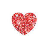 Red heart with a white monogram patterns for valentine`s day Stock Photo
