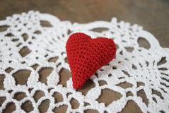 Red heart on the white napkin. Stock Photography