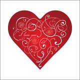 Red heart with white ornament with roses isolated Royalty Free Stock Photos